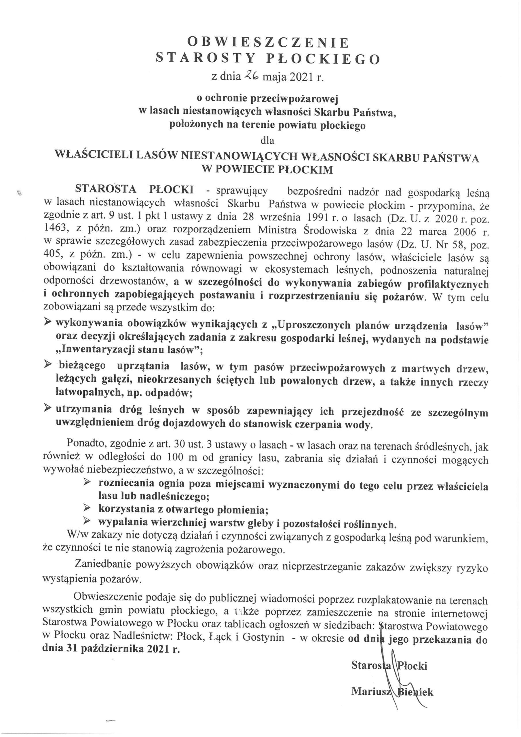 Obwieszczenie Starosty Płockiego z dnia 26 maja 2021 r. o ochronie przeciwpożarowej w lasach niestanowiących własność Skarbu Państwa, położonych na terenie powiatu płockiego