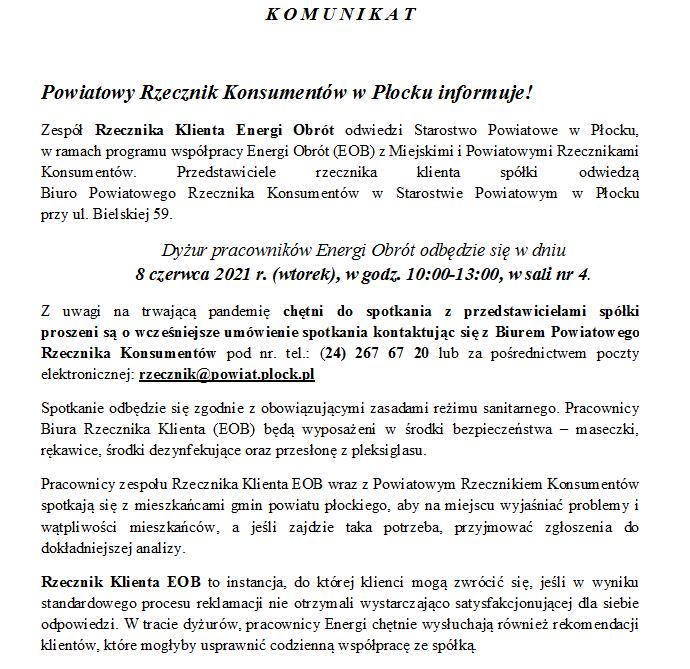Dyżur pracowników Energi Obrót